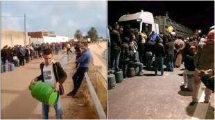 (à gauche) Un long queue devant un point de vente de bouteilles de gaz à sfax (centre-est), (à droite) des habitants de la ville de Hamma (sud) oblige un camion de transport de gaz à décharger son cargo. Captures d'écran Facebook.
