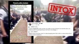 Cette publication prétend montrer des policiers déposant leurs menottes en signe de protestation contre le confinement, ce qui est faux.