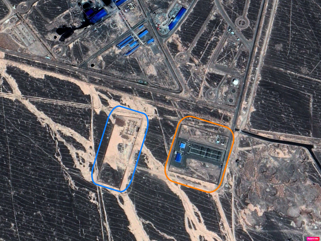 The second image, which was taken in June 2019, shows that, in just two years, the entire complex has grown much larger. The yellow square indicates the power station.