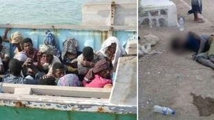 On the left, migrants en route to Yemen who were intercepted by Djibouti coastguards. On the right, a man lying in the street in Tadjourah, suffering from cholera or acute diarrhoea. Photos published on Facebook.