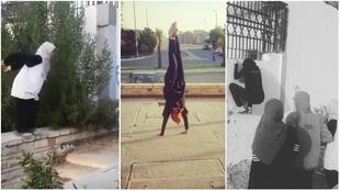 These screengrabs show members of the Ladies Parkour Egypt group in mid-action in Cairo. (Videos posted on the group's Facebook page.)