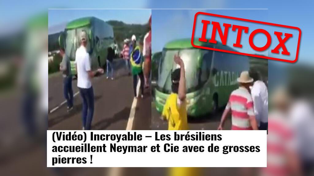 Les coéquipiers de Neymar auraient eu un dispositif d'accueil très véhément à leur retour au Brésil après leur élilmination en quarts de finale... Une intox avec une vidéo prise hors contexte.