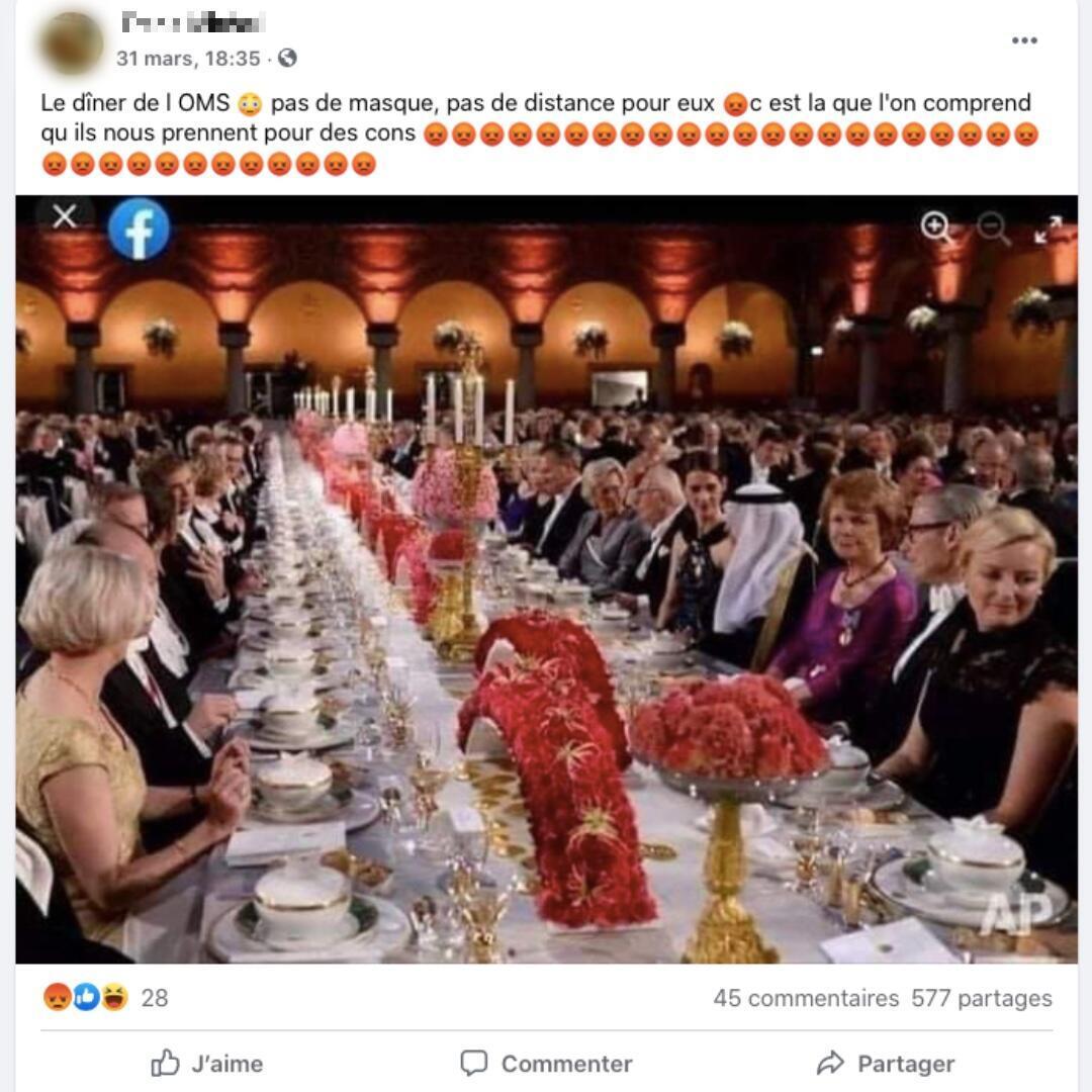 """Cette publication Facebook présente l'événement photographié comme un """"dîner de l'OMS""""."""