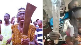 """À gauche, le rappeur Iba Montana exhibe une machette dans son clip """"Siriké Djo"""". À droite, capture d'écran d'une vidéo où des enfants chantent la chanson d'Iba Montana, armes à la main."""