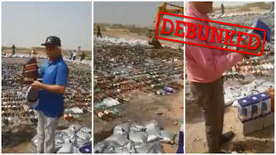 Bottles of alcohol being destroyed in Pakistan, not Iran, as some online users claimed. (Facebook)