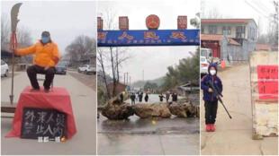 Les habitants de plusieurs villes et villages chinois bloquent les routes par peur de l'épidémie de coronavirus.