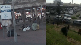 Left: an empty taxi rank in Bellville, a suburb of Cape Town, following the stoppage of taxi services on July 7. Right: Pedestrians fled the Bellville taxi rank after shootings broke out.
