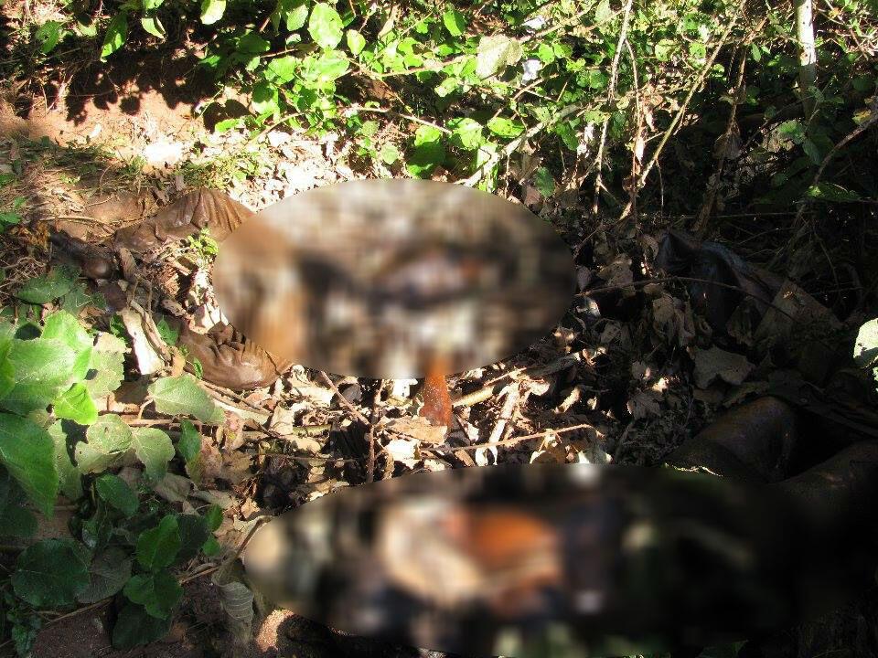 Deux corps d'hommes retrouvés dans des broussailles. Photo envoyée par notre Observateur et floutée par France 24.
