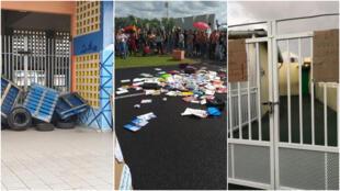 Photos des mobilisations d'enseignants depuis le début du mois de décembre en Guadeloupe. Réseaux sociaux - UNSA Éducation / Snep-Fsu Guadeloupe.