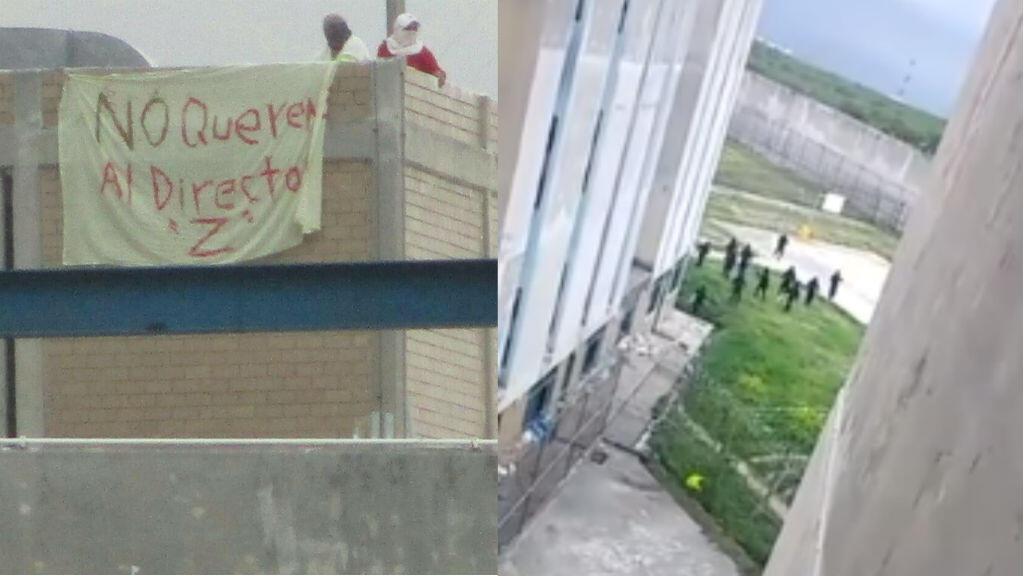 Photo (à gauche) et capture d'écran d'une vidéo (à droite) montrant la prison de Cadereyta Jiménez lors de la mutinerie des 9-10 octobre 2017.