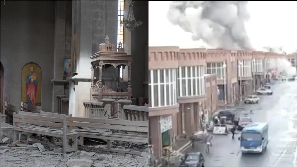 La cathédrale de Ghazanchesots (à gaucheà et le marché de Gandja (à droite) sont deux des lieux civils touchés par les bombardements dans la guerre du Haut-Karabakh.