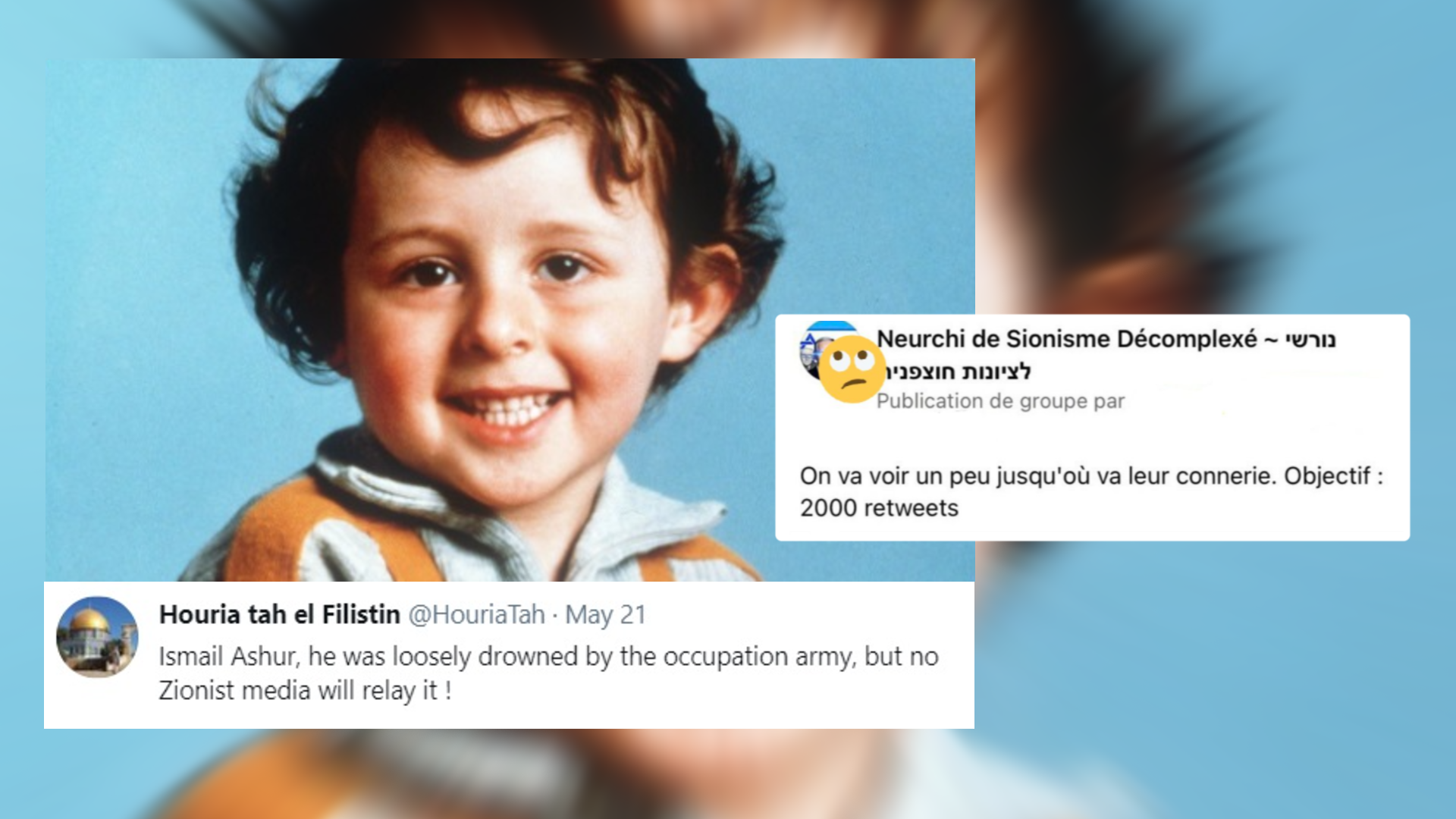Lots of people shared this photo of a little boy, claiming that he had been killed in Gaza. It turns out, however, that this is actually the photo of a little boy named Grégory, who died in France under mysterious circumstances in the 1980s. His photo was picked up and used by a pro-Israeli Facebook group in a complicated ploy.