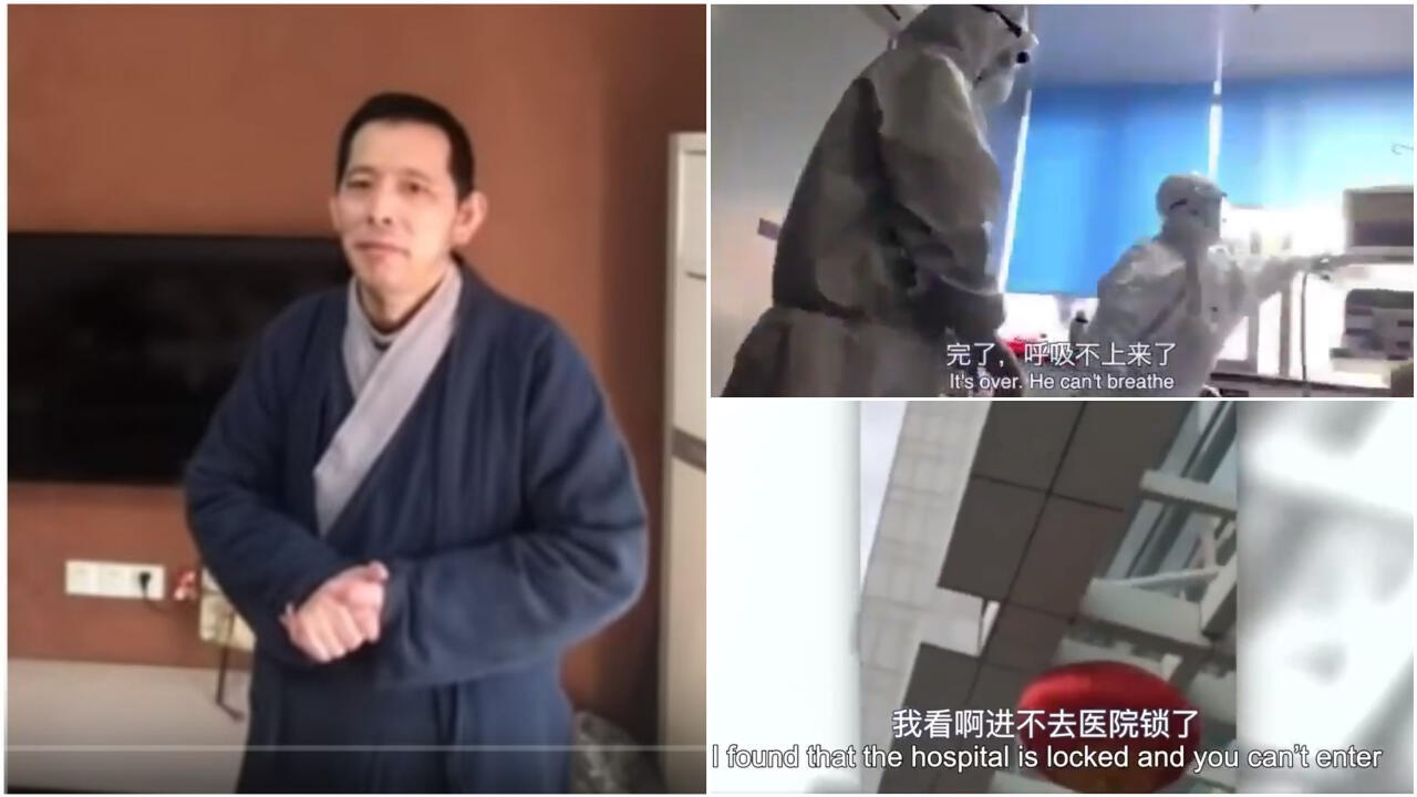 A Chinese shopkeeper and citizen journalist known as Fangbin was detained Feb. 1, 2020 by police and interrogated after he posted videos on his YouTube channel showing hospitals crowded with patients infected with the coronavirus..