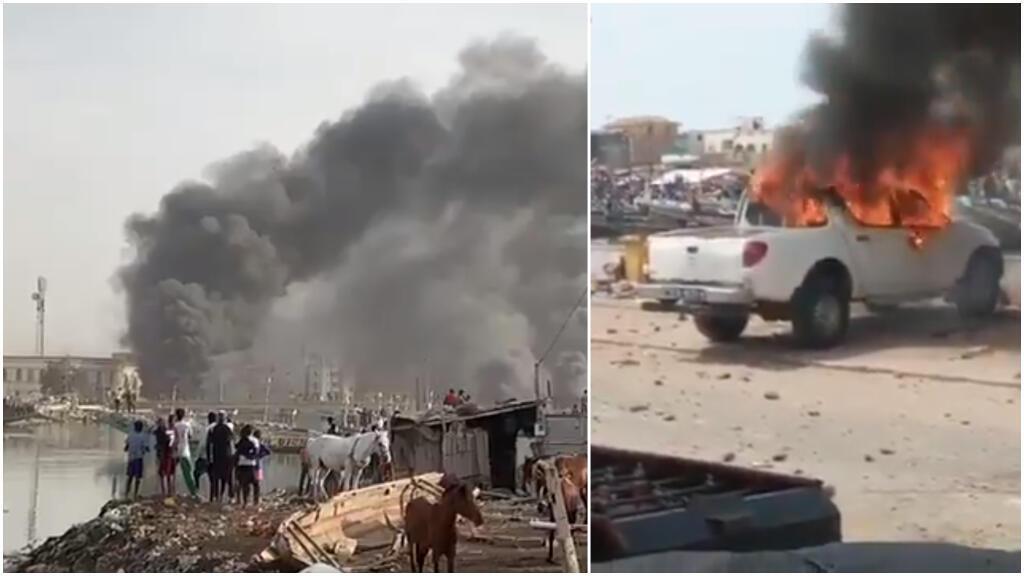 Ces images montrent les affrontements qui se sont déroulés à Saint-Louis le 4 février. Captures d'écran Twitter.