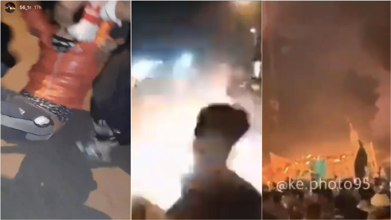 Screengrabs of Snapchat stories filmed in Sadraynla Square on February 5, 2020.