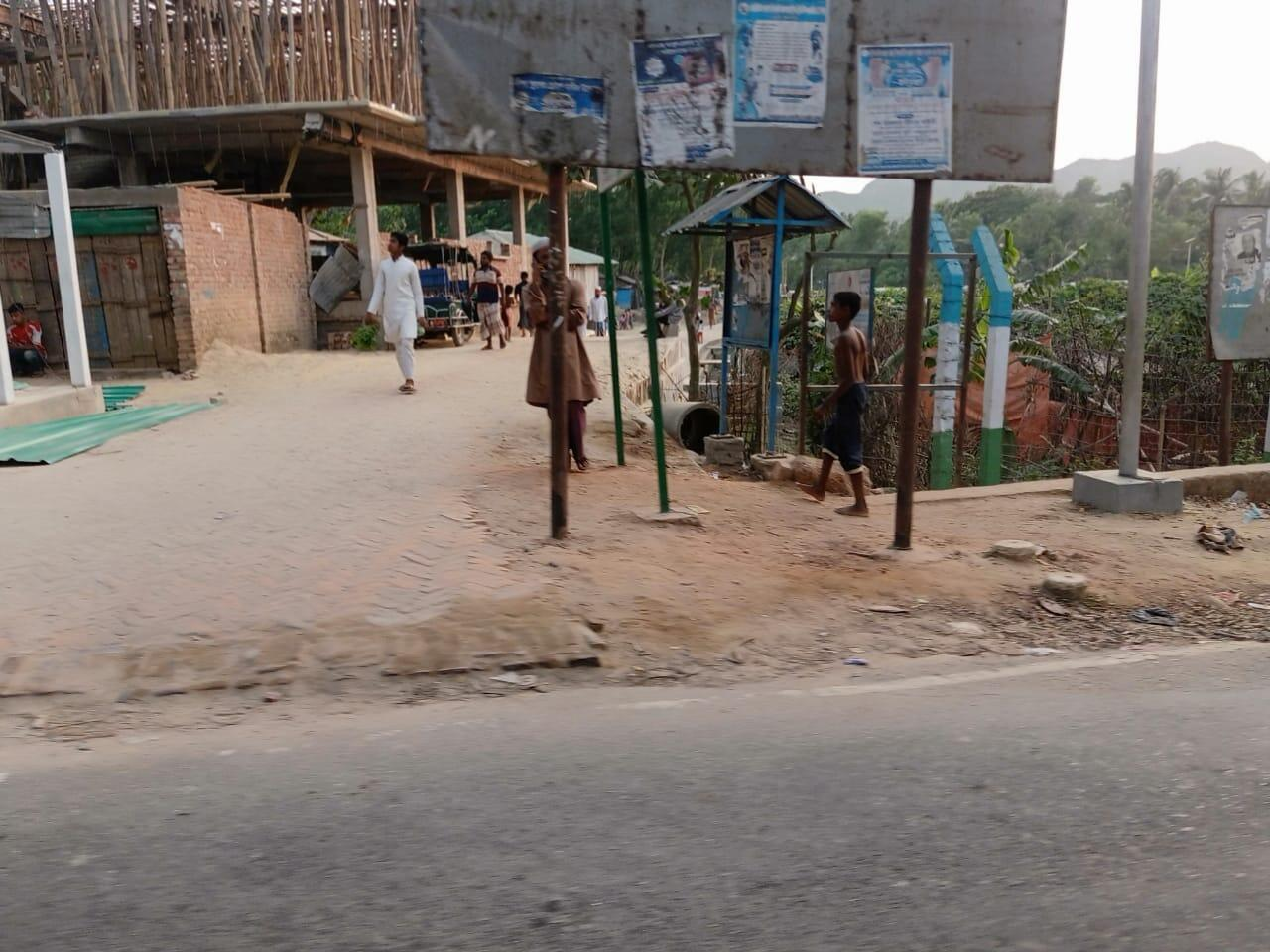 The entrance to Jadimura Camp 27 in Cox's Bazar, fenced with barbed wire. Photo taken April 30, 2021.