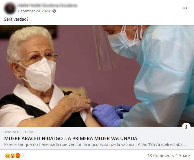 Capture d'écran d'une publication sur Facebook