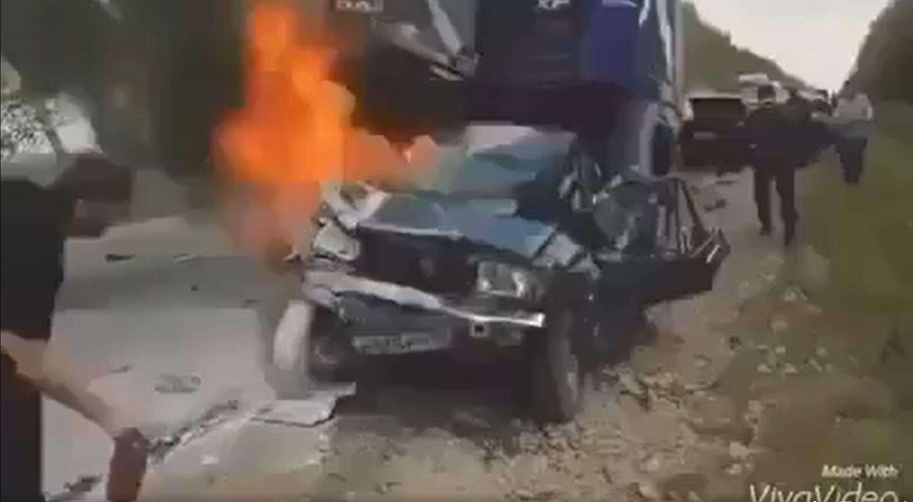 Capture d'écran d'une vidéo prétendant montrer l'accident de Lars Vilks, publiée sur Facebook le 8 octobre 2021.