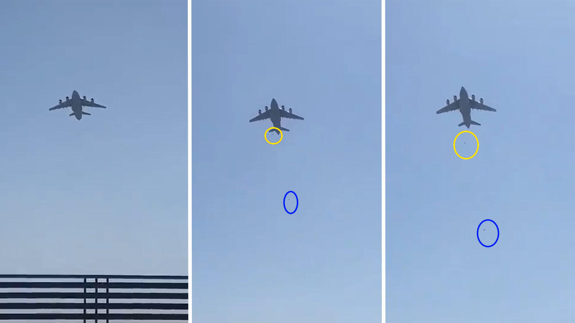 These screenshots of a video shared widely on social networks show two people falling from a US C-17 military plane that took off from Kabul airport on August 16, 2021.