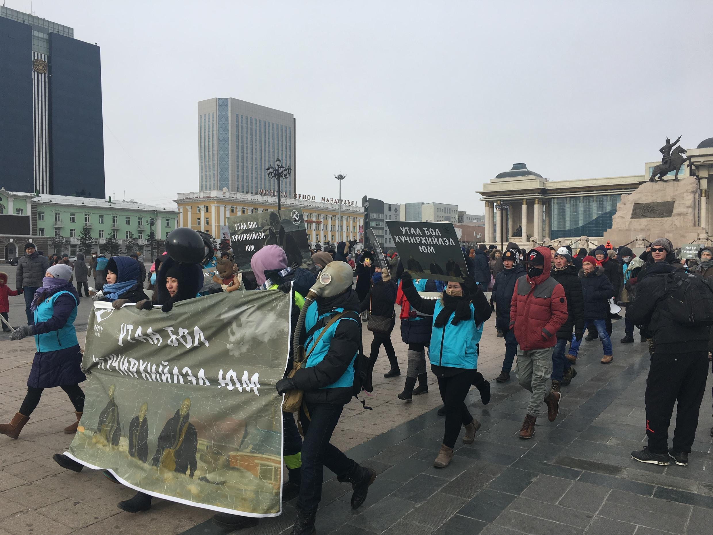 On Saturday, January 28, several thousand people took to the streets of Ulaanbaatar, the Mongolian capital, to demand that the government address the city's chronic pollution problem. Photo: Sainbayar Davaabat (@dsainbayar)
