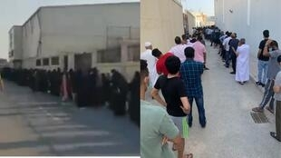 Long queues in front of two mobile coronavirus testing centres in the Barbar region (left) and in Manama (right).