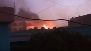 Fires in Ghazni. Screen grab from the video below.