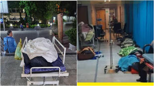 مرضى مصابون بفيروس كورونا في مستشفى طهران، اضطروا للنوم على الأرض في 18 نيسان/ أبريل (على اليمين). شخص توفي بفيروس كورنا ملقى في بهو مستشفى بطهران، 20 نيسان أبريل (على اليمين).