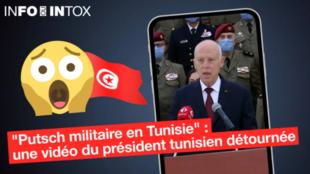 Une vidéo du président tunisien Kaïs Saïd a fait le tour des réseaux sociaux égyptiens au moment de l'anniversaire de la révolution de 2011 en Egypte. En réalité, c'est un montage sorti de son contexte.