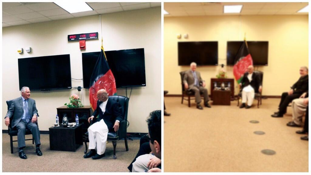 On the left, the photo published by US officials. On the right, the photo published by the Afghan presidency.
