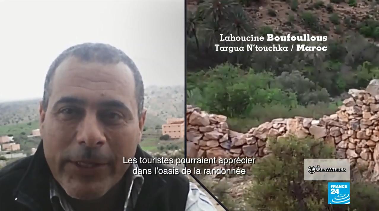 Notre Observateur Lahoucine Boufoullous dénonce la pollution de l'oasis de Targua n'Touchka, au centre du Maroc. Capture d'écran, Les Observateurs de France 24.