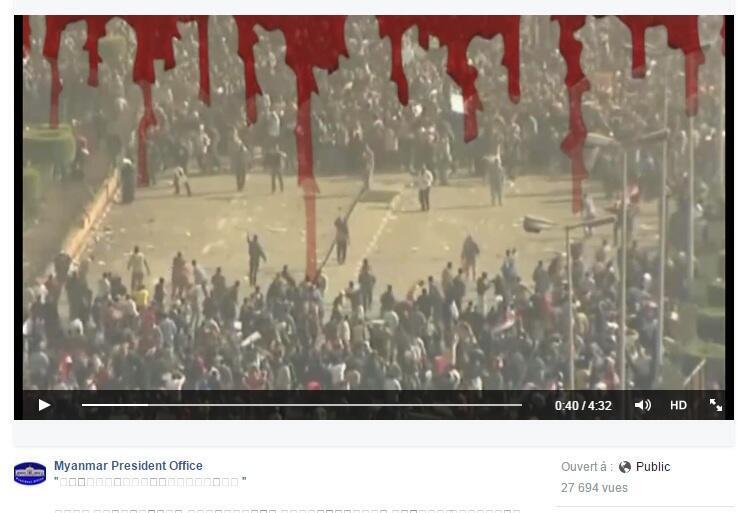 La vidéo de propagande publiée sur la page Facebook de la présidence birmane fait référence aux printemps arabes pour mettre en garde les électeurs du risque d'une déstabilisation politique.