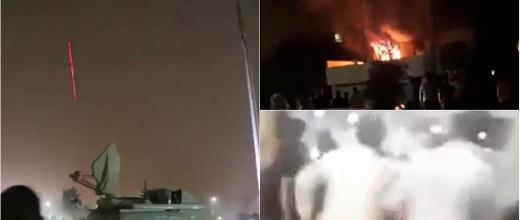 Screen grabs from videos showing protesters attacking the parliament in Erbil as well as the offices of parties who stood in opposition to the regional president, who has resigned.