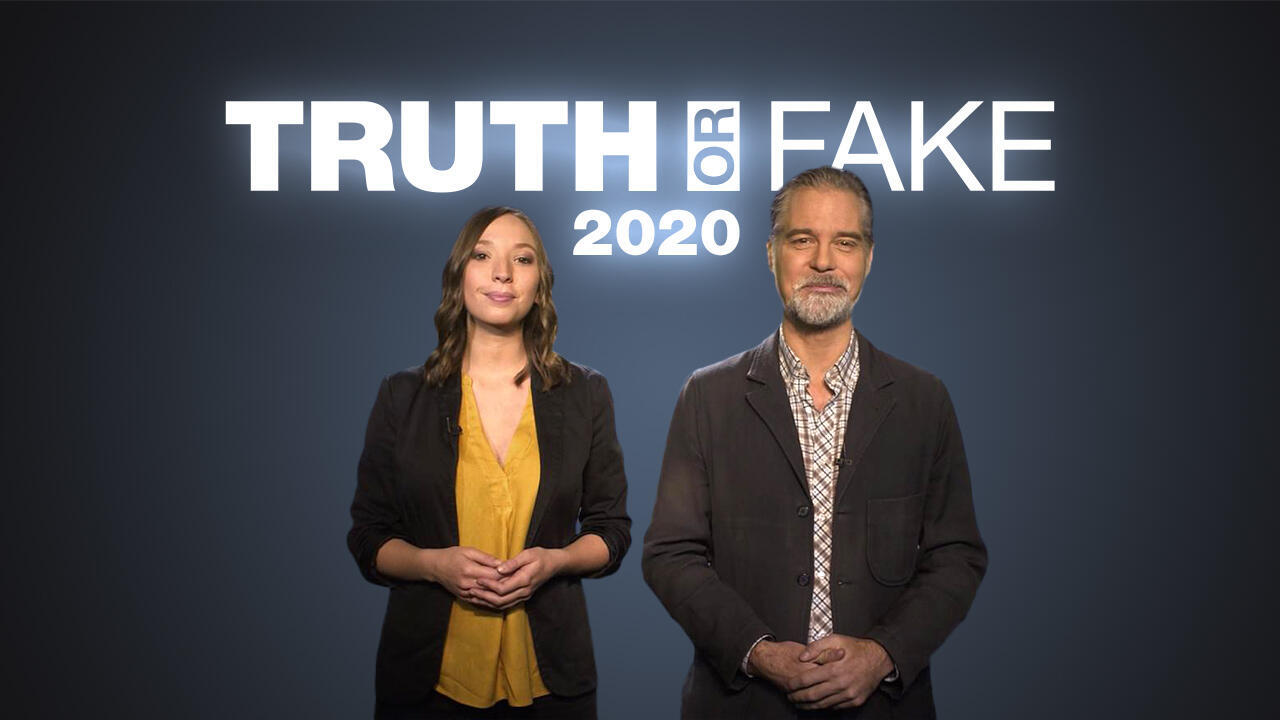 """Derek Thomson and Catherine Bennett are the presenters of """"Truth or Fake"""" 2020, a 9-minute guide to verifying images online."""