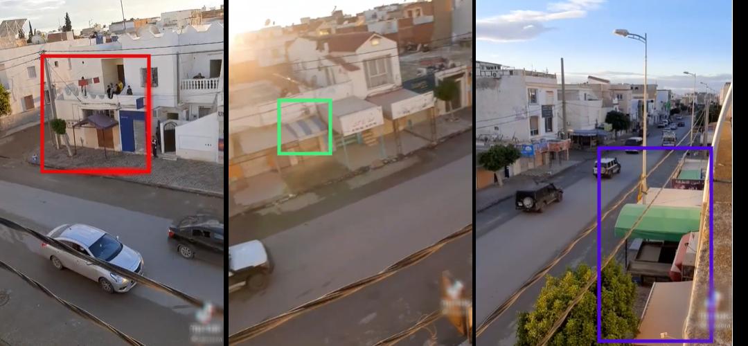 يتطابق مقطع الفيديو بشكل كامل مع صور الأقمار الاصطناعية لشارع اليمن، شجرة وغطاء رمادي ( باللون الأحمر) وغطاء مخطط بالأزرق والأخضر (باللون الأخضر) وغطاءان أخضرا (باللون البنفسجي).