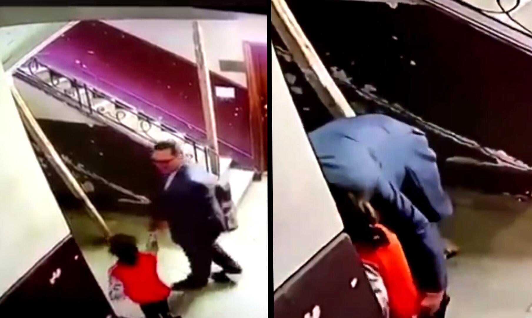 L'homme entraîne la fillette derrière le mur de la cage d'escaliers, puis lui touche les fesses, avant de se placer derrière elle en l'enlaçant. C'est à ce moment qu'elle a commencé à se débattre.