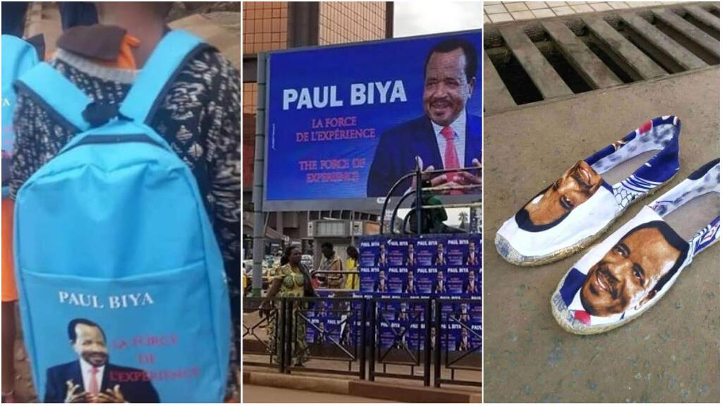 De nombreux accessoires à l'effigie de Paul Biya, candidat à sa propre succession lors de l'élection présidentielle camerounaise du 7octobre, sont visibles dans les rues du pays. Photos: Twitter.
