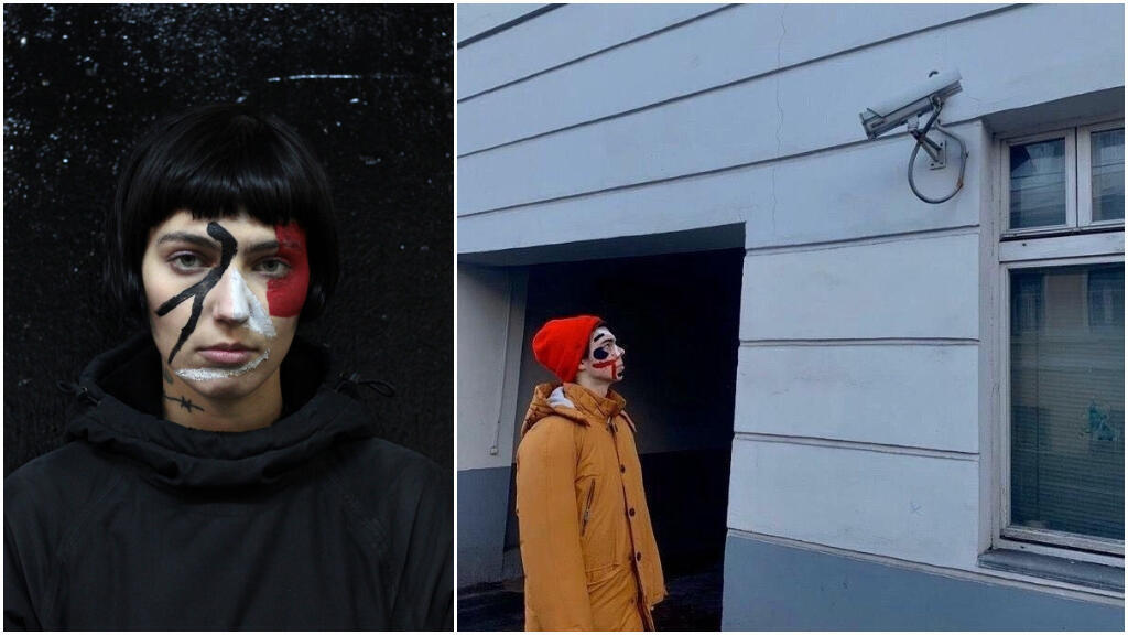 On the left, the artist Ekaterina Nenasheva shows an example of this type of make-up and on the right, a member of the collective poses in front of a CCTV camera.