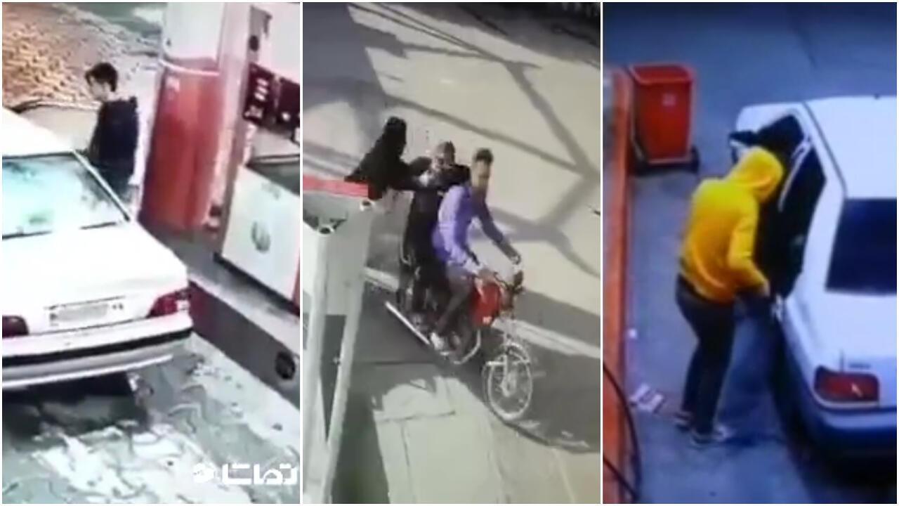 En Iran, les vols aux stations-services se multiplient depuis la hausse du prix du carburant. Captures d'écran de vidéos relayées sur les réseaux sociaux depuis fin décembre.