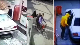 In Iran, petrol theft has increased since a price hike. Screen captures of videos shared online since December 2019.