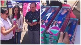 La députée Paulina Núñez Urrutia a distribué des poupées à son effigie le 29 octobre, à Antofagasta (Chili). Images publiées sur son compte Facebook.
