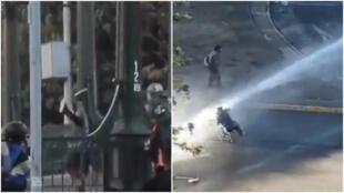 Captures d'écran de vidéos tournées le 2 et le 11 octobre 2020, à Santiago du Chili, et diffusées sur les réseaux sociaux.
