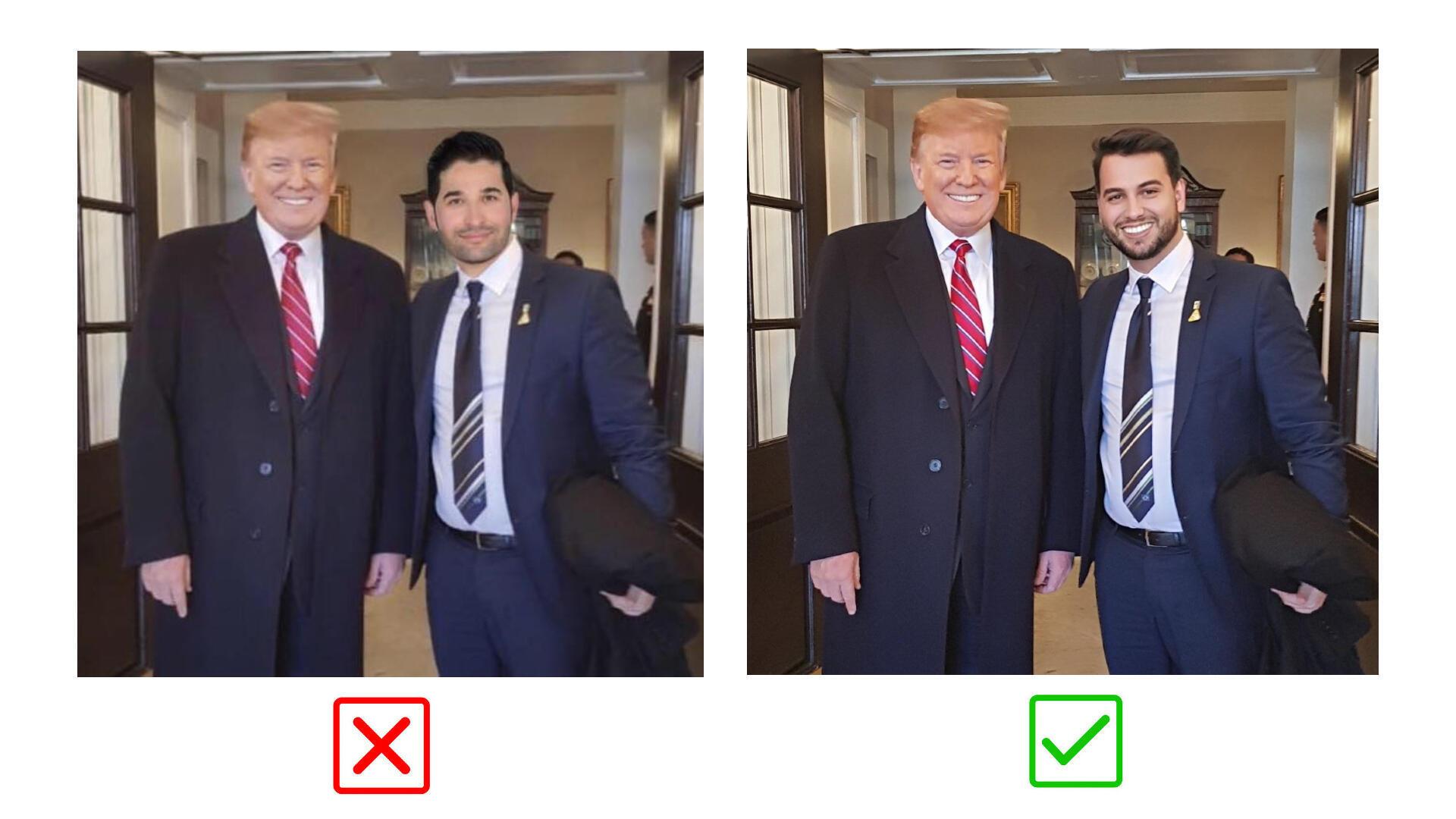 A gauche, montage photo partagé sur le compte Facebook de Rob Petrosian. A droite, photo originale partagée sur le compte Twitter de Filipe G. Martins.