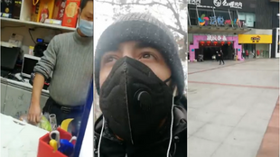 Screengrabs of some of Adham Al Sayed's videos, which show daily life in Wuhan under quarantine.