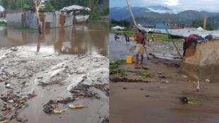 La ville d'Uvira, dans le Sud-Kivu, est menacée par la montée des eaux du lac Tanganyika. Contraints d'abandonner leurs maisons, ils dorment désormais dans des abris de fortune.
