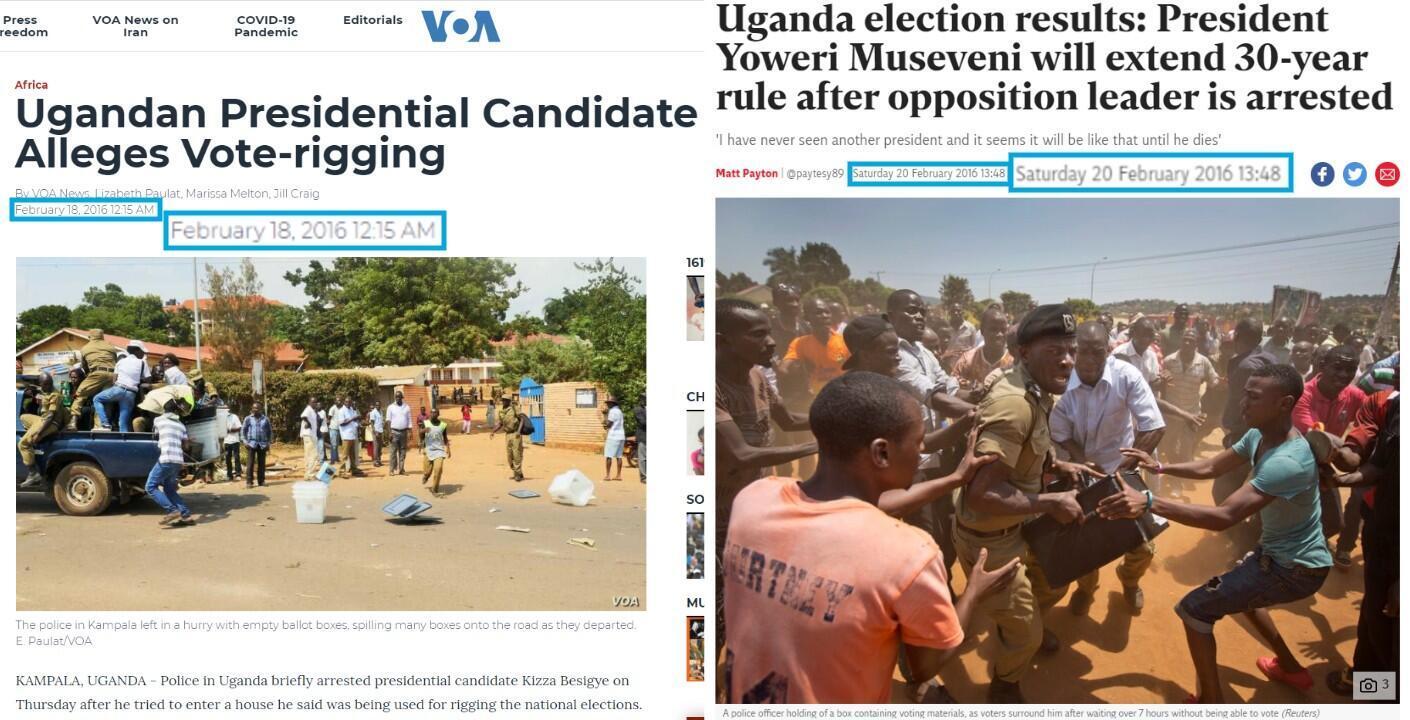À gauche, un article de Voice of America et, à droite, un article de The Independent, tous deux publiés en février 2016