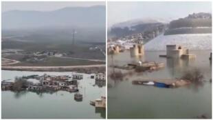 Captures d'écran de vidéos tournées mi-février à Hasankeyf et montrant que le Tigre a commencé à monter et recouvrir la ville Crédit : Twitter /Tik Tok