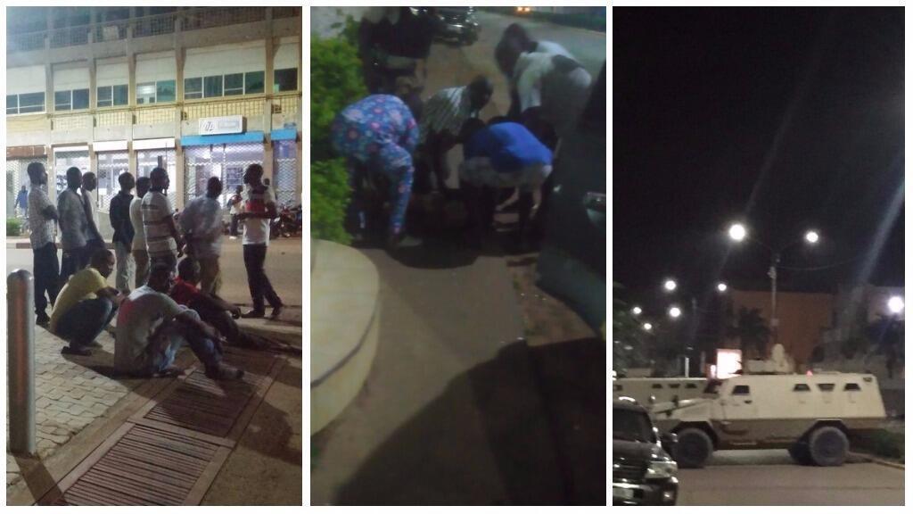 Photos prises dans la nuit de dimanche à lundi par Aboubakar Sanfo (gauche), Serge Oulon (centre) et Idrissa Yabre (droite), dans le quartier où l'attaque s'est produite.