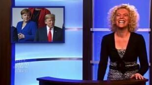 Capture d'écran de la vidéo dans laquelle une jouraliste allemande écalterait de rire en évoquant les déclarations de Donald Trump sur les relations entre Allemagne et Russie.
