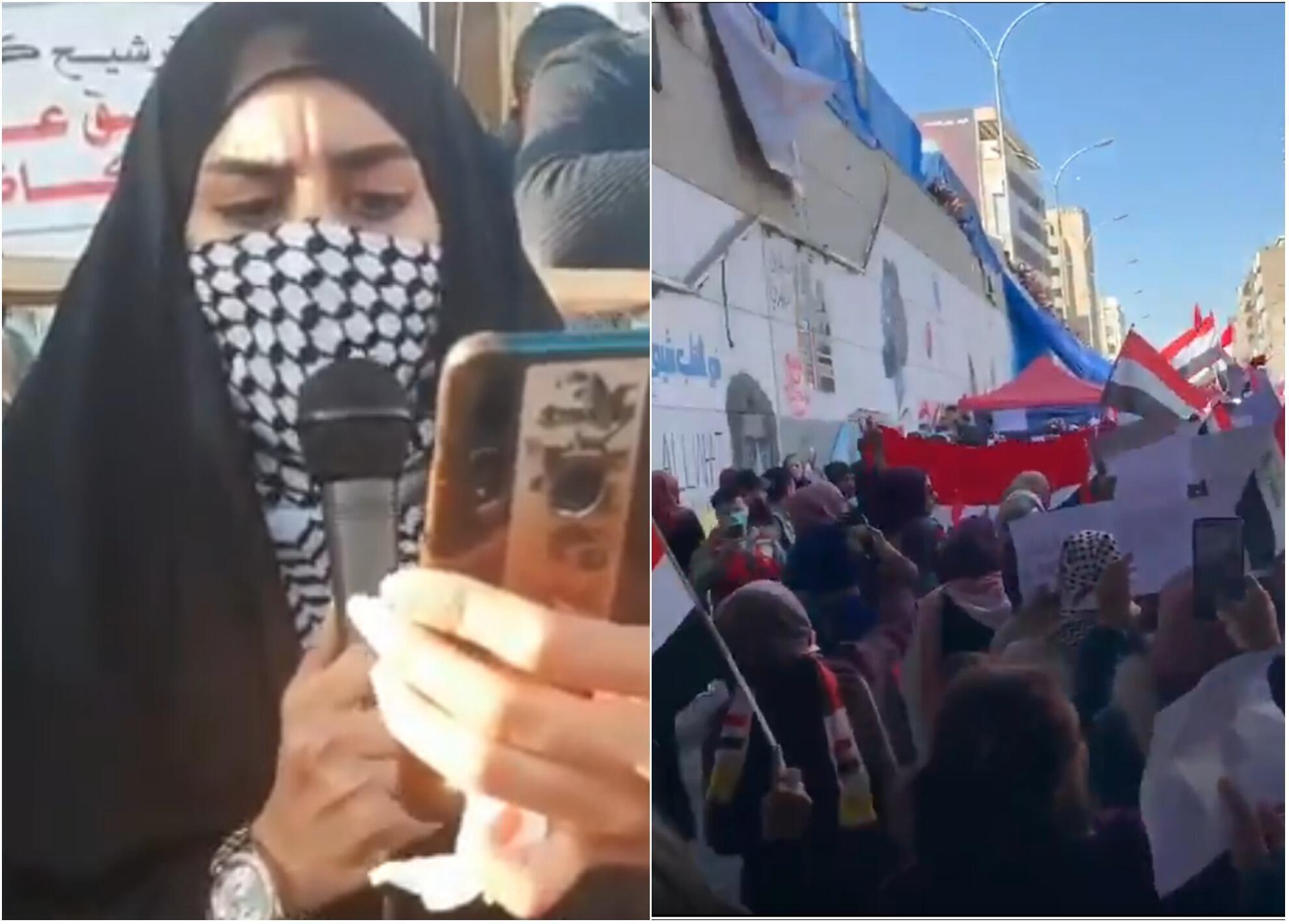 Captures d'écran de vidéos de manifestations en Irak. Réseaux sociaux.