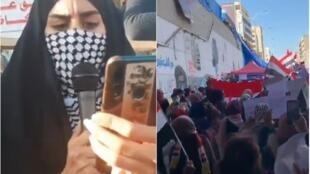مشاهد من فيديوهات للمظاهرات في العراق – وسائل التواصل الاجتماعي